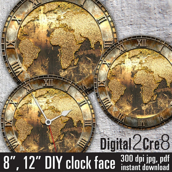 World map antique large clock face 12 and 8 digital downloads world map antique large clock face 12 and 8 digital downloads diy printable image iron on transfer wall decor crafts jpgpdf from gumiabroncs Choice Image