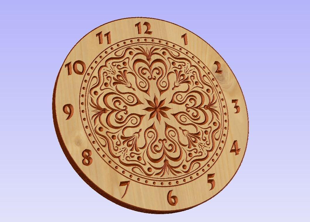 Clock face vector file (eps) for V-bit cnc carving