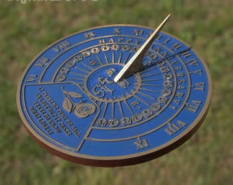 Garden Sundial with your message cast into it. Custom personalized gift for birthday, anniversary
