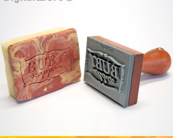Personalized soap stamp to imprint custom logo or graphic. Crisp and Clear, sharp edges, durable hardwood handle.