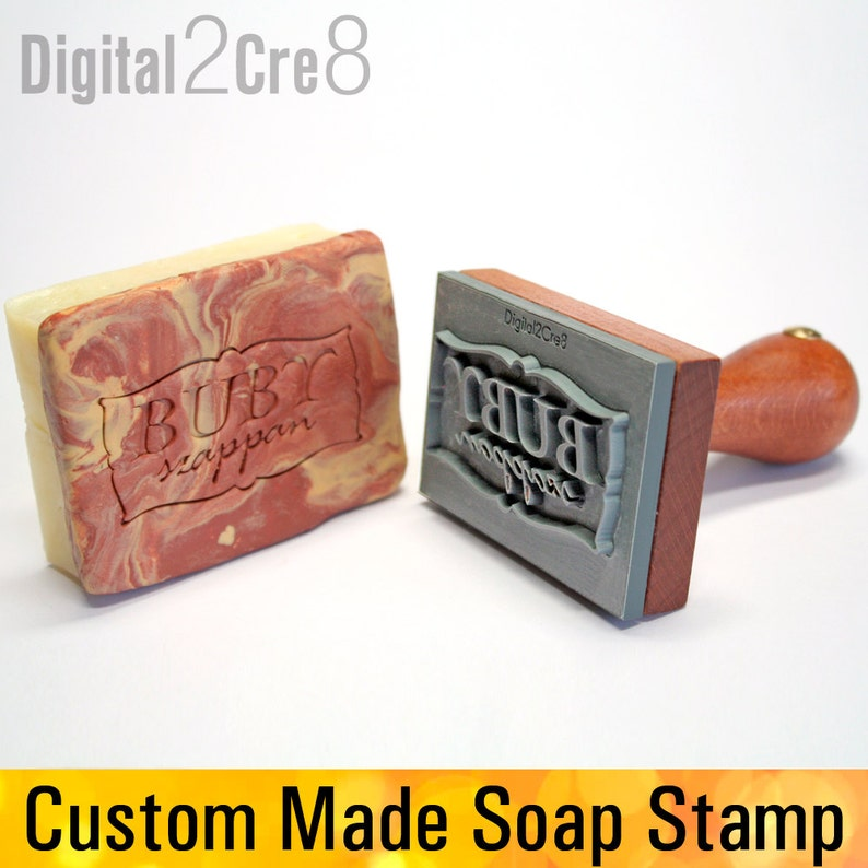Personalized soap stamp to imprint custom logo or graphic. image 0