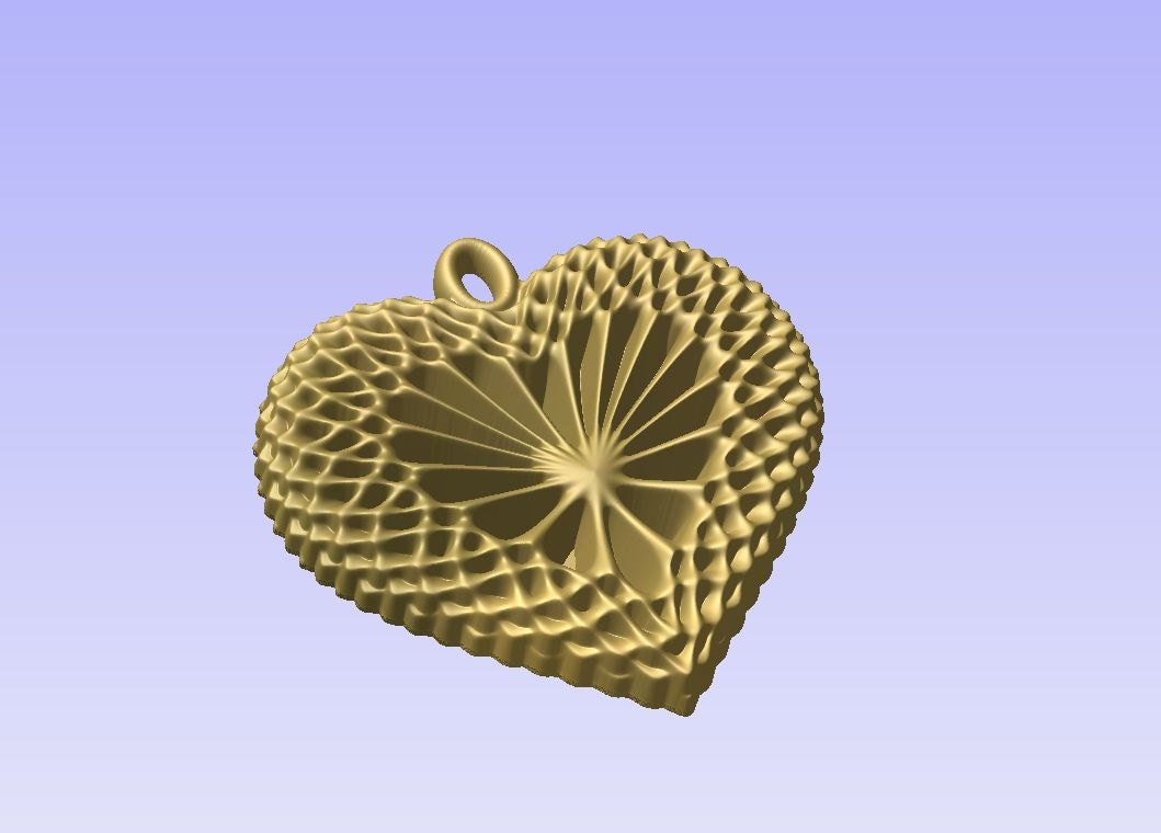 Heart shaped pendant d stl model for cnc carving vectric aspire