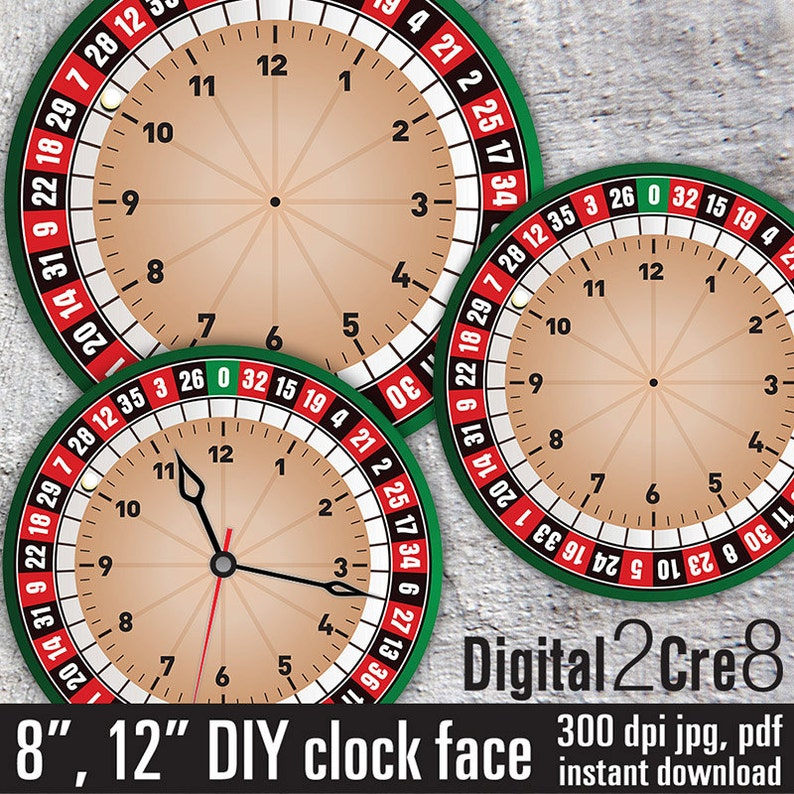 Roulette style Large Clock Face - 12