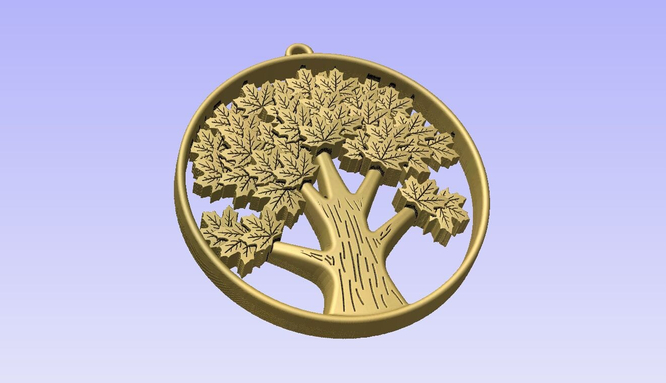 Stl d models of tree pendant for cnc carving vectric aspire cut d