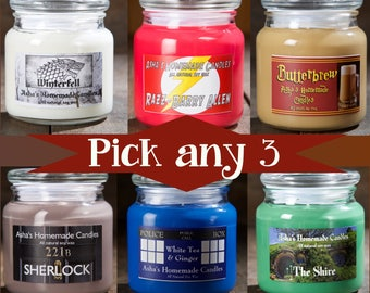 Soy Candles - Set of 3 - Choose your scents! - Fandom Candles - Geek Gift Idea