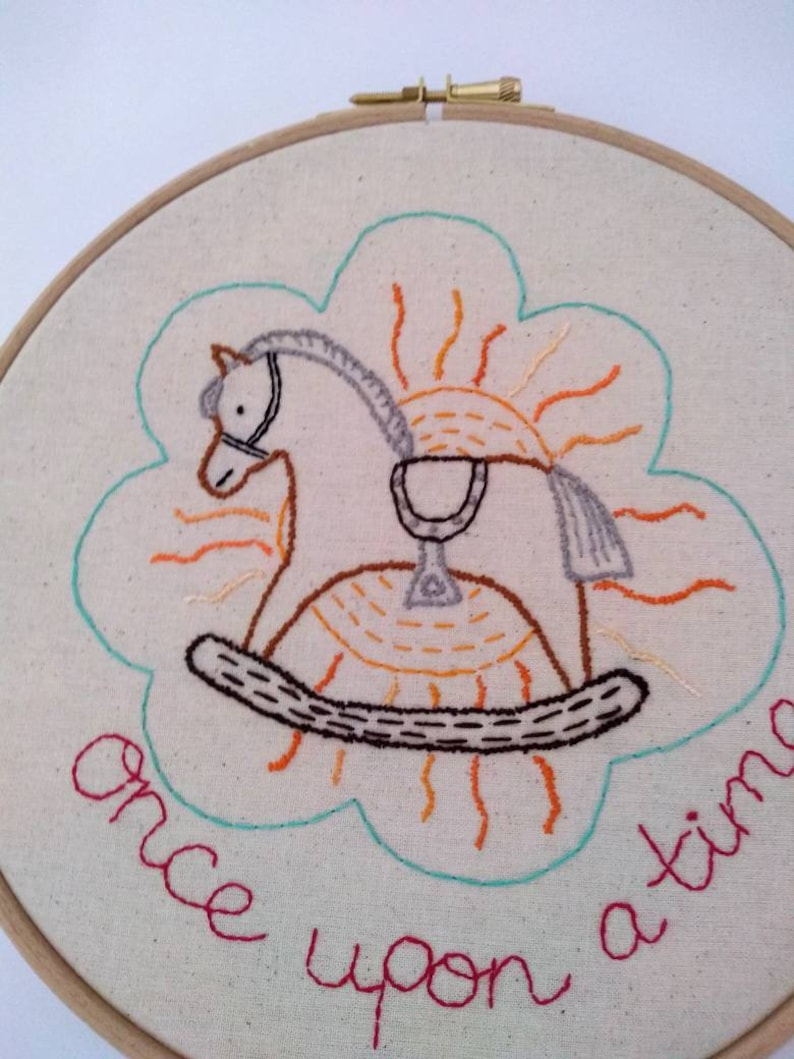 scripted wall decor children/'s art nursery room decoration. embroidered wall decor textile art embroidered children/'s hoop art