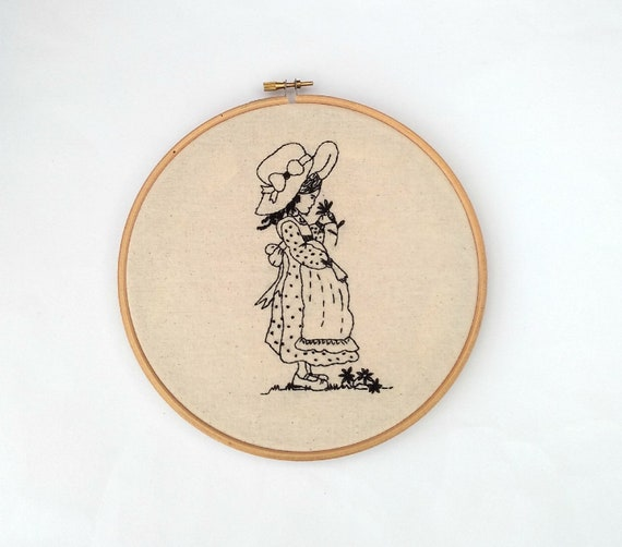 Embroidered figure drawing hoop art, custom embroidered textile wall art,  hand stitched figure art, Holly Hobbie, embroidered sketch
