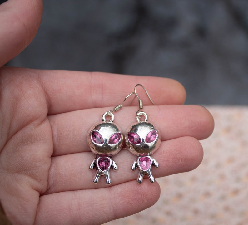 Silver and pink funky open earrings