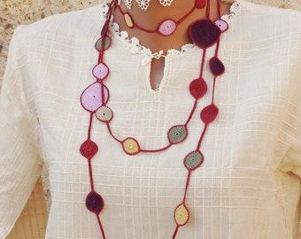 Turkish OYA Lace Crocheted Jewelry Wedding Bib Flowers Accessories Dresses Jewelry Flower/&Pearl Lariat