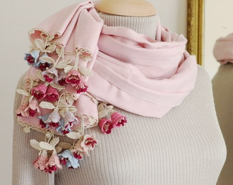 Turkish OYA Lace Pashmina stole & Silk Flowers Stole /Shawl PINK- Scarf Shawl For Her Gift For Women Winter Scarf Women Fashion