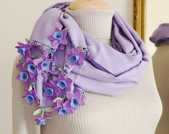 Turkish OYA Lace Pashmina stole & Silk Flowers Stole /Shawl LAVENDER- Scarf Shawl For Her Gift For Women Winter Scarf Women Fashion