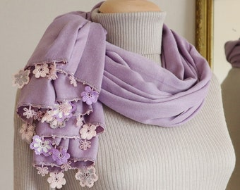 Turkish OYA Lace/ Crochet Pashmina stole/shawl MAUVE- Scarf Shawl For Her Gift For Women Winter Scarf Women Fashion Accessories