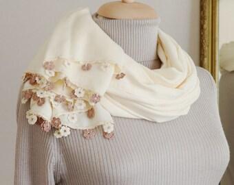 Turkish OYA Lace/ Crochet Pashmina stole/shawl MILK- Scarf Shawl For Her Gift For Women Winter Scarf Women Fashion Accessories