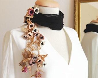 Turkish OYA Lace - SILK flower cotton stole/shawl BOUQUET Black & Gold- For Her Gift For Women Spring Summer Scarf Women Fashion Accessories