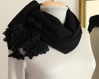 Turkish OYA Lace Pashmina stole & Silk Flowers Stole /Shawl BLACK- Scarf Shawl For Her Gift For Women Winter Scarf Women Fashion