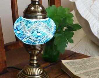 HANDMADE Turkish mosaic table lamp Medium/TURQUQISE- staind glass Living Roon, Bed room  All season Gift