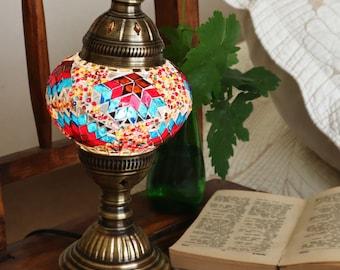 HANDMADE Turkish mosaic table lamp Medium/TROPIC- stained glass Living Room, Bed room  All season Gift