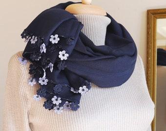 Turkish OYA Lace/ Crochet Pashmina stole/shawl INDIGO- Scarf Shawl For Her Gift For Women Winter Scarf Women Fashion Accessories
