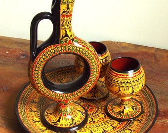 HANDMADE Hittite design pottery Wine Service set - YELLOW/Historical pottery ceramic decoration gift for all