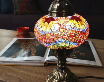 HANDMADE Turkish mosaic table lamp Large/ORANGE MIX- stained glass Living Room, Bed room  All season Gift