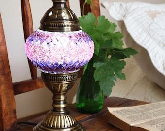 HANDMADE Turkish mosaic table lamp Medium/TWILIGHT- staind glass Living Roon, Bed room  All season Gift