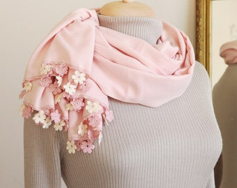 Turkish OYA Lace/ Crochet Pashmina stole/shawl PINK- Scarf Shawl For Her Gift For Women Winter Scarf Women Fashion Accessories