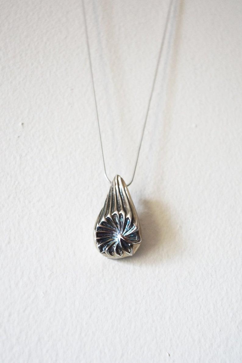 Silver Necklace Organic Pendant Unique necklace pattern image 0