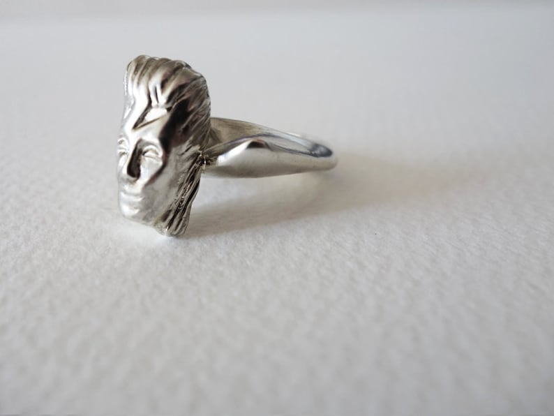David Bowie Ring Unique Silver Ring Silver Ring Statement image 0