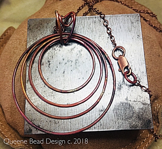 Lots of Copper Hoops Long Necklace #queenebead