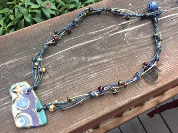 Boho Hemp and Ceramic Sea Themed Necklace and Earrings