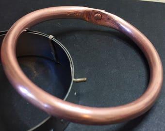 Riveted Copper Tube Bracelet Bangle #queenebead