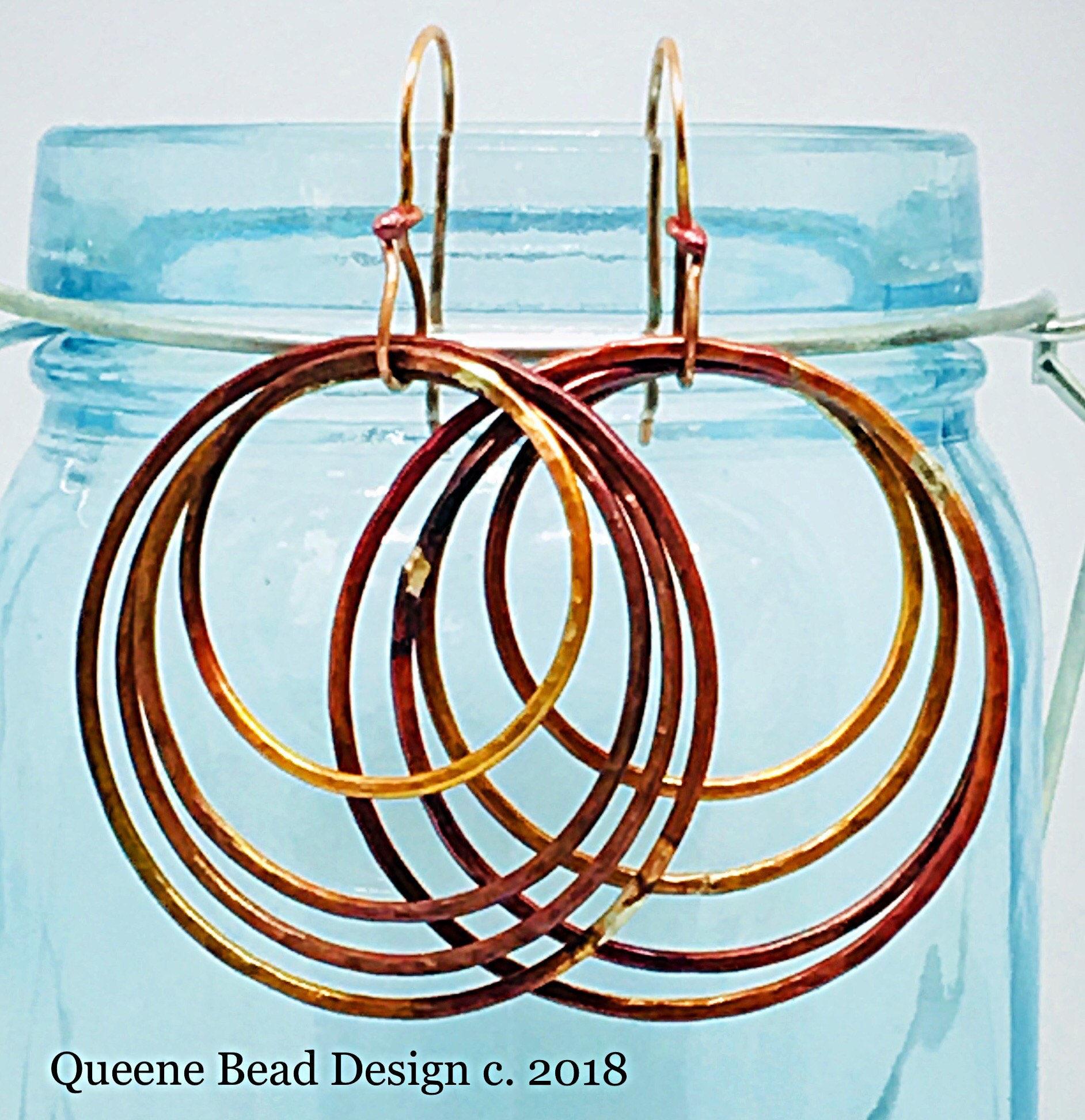 b159ff9c1 Hoops and Loops Copper Earrings #queenebead