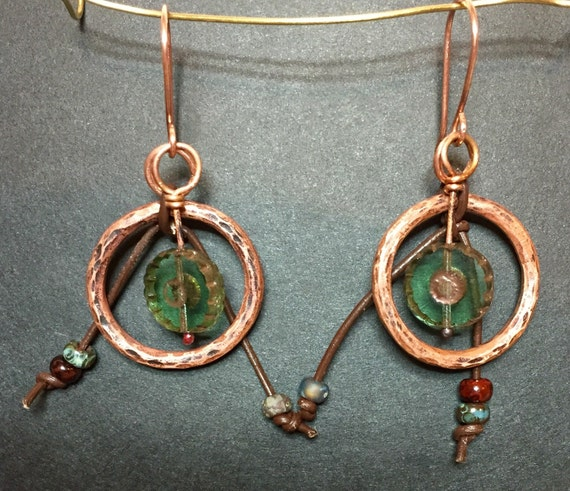 Copper, Leather and Czech Glass Earrings #queenebead