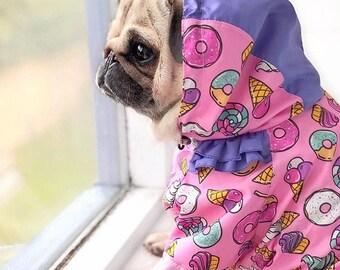 160f08ca2bb Sweet Dog Raincoat - Dog Coat - Donuts - Dog Clothing - Pet Clothes -  Custom Made - Dog Hoodie