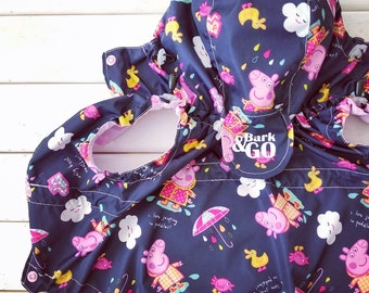 Pig Peppa Dog Raincoat with cute ears - Dog Raincoat - Dog Coat - Dog Clothing - Pet Clothes - Available to Any Breed - Small & Big dog