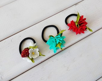 Dog Hair Accessories KIT with Flowers and Straberry - 3 rubber bands