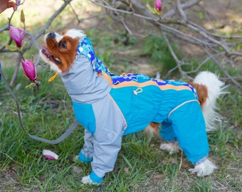Waterpoof Dog Raincoat with Cool Sharks - Membrame Fabric - Body Suit - Dog Coat - Dog Clothing - Pet Clothes - Available to Any Breed