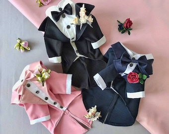 Classic NAVY Dog Tuxedo - Black Tie - Dog Wedding - Bow Tie - Flower Boutonniere - Dress Code - Evening dog outfit - Dog Birthday