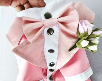 Classic PINK Dog Tuxedo - Black Tie - Dog Wedding - Bow Tie - Flower Boutonniere - Dress Code - Formal suit - Evening outfit - Dog Birthday