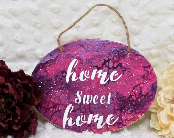 """Hanging Sign """"Home Sweet Home"""" - Hand Painted Acrylic Pour Art with White Stenciled Lettering and Glitter"""