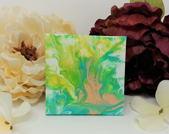 "Mini Abstract Acrylic Painting on Magnetic Canvas 3x3"" - Original Art for Fridge or Lockers - Fluid Art Acrylic Pouring"