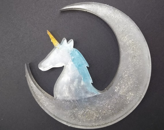 Unicorn Moon Resin Window, Desk or Room Ornament or Suncatcher