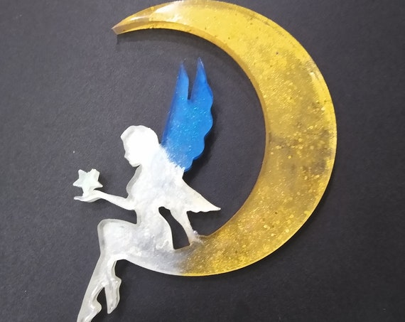 Fairy Moon Resin Window, Desk or Room Ornament or Suncatcher