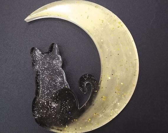 Cat Moon Resin Window, Desk or Room Ornament or Suncatcher