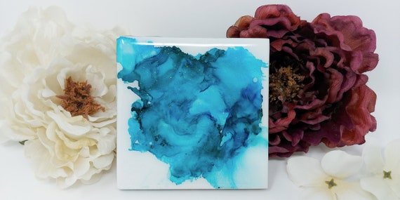 Ceramic Tile Coaster with Hand-made Original Ink Art, Glittery Resin Coating and Cork Backing