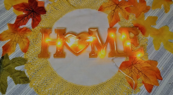 "Sparkling Gold ""HOME"" word free-standing decorative light-up table sign made from epoxy resin"