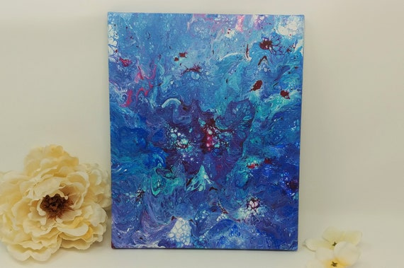 Original Abstract Acrylic Painting on 8 x 10 inch Stretched Canvas - Ocean- Fluid Art Acrylic Pouring