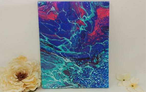 "Original Abstract Acrylic Painting on 8 x 10 inch Stretched Canvas - ""Red Tide""- Fluid Art Acrylic Pouring"