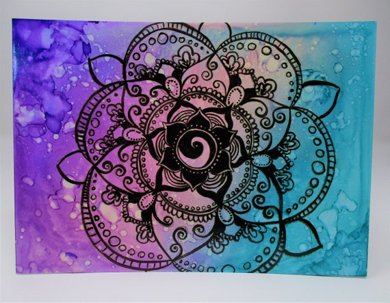 "Mixed media hand painted mandala - 5x7"" on matte Yupo paper"