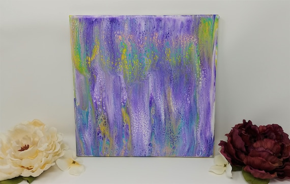 Original Abstract Acrylic Painting on 10x10 inch Stretched Canvas - Bright Pastel Colors -Fluid Art Acrylic Pouring